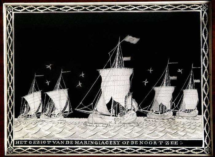 Aquarel 'Het gezigt van de Haringiagerij op de Noortzee'