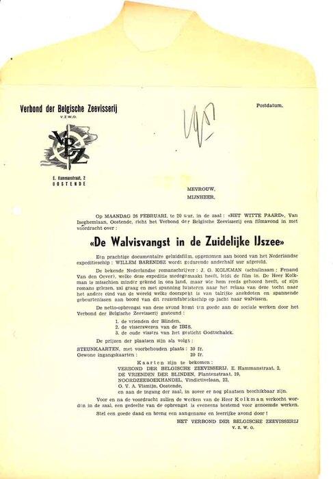 """Aankondiging van een documentaire geluidsfilm """"De walvisvangst in de Zuidelijke IJszee""""  van het Verbond der Belgische Zeevisserij te Oostende op 26 februari 1951."""