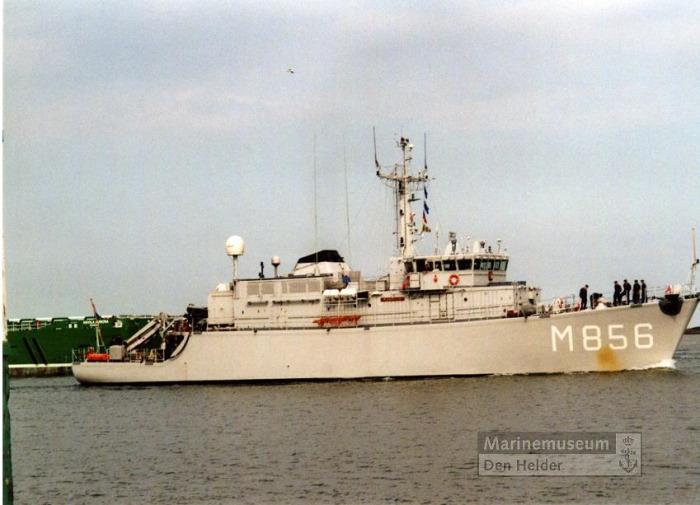 Aankomst van Hr.Ms. mijnenjager Maassluis (1984-2011) te Den Helder, 14 juli 2010